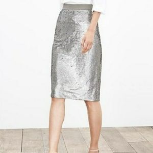 Banana Republic silver sequined pencil skirt